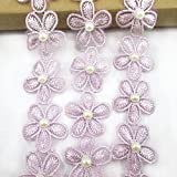 """1/8"""" wide x 10 yardsEmbroidered Flower Lace Trims with Pearl on Organza Applique for Wedding,Sewing DIY Craft. (light purple)"""