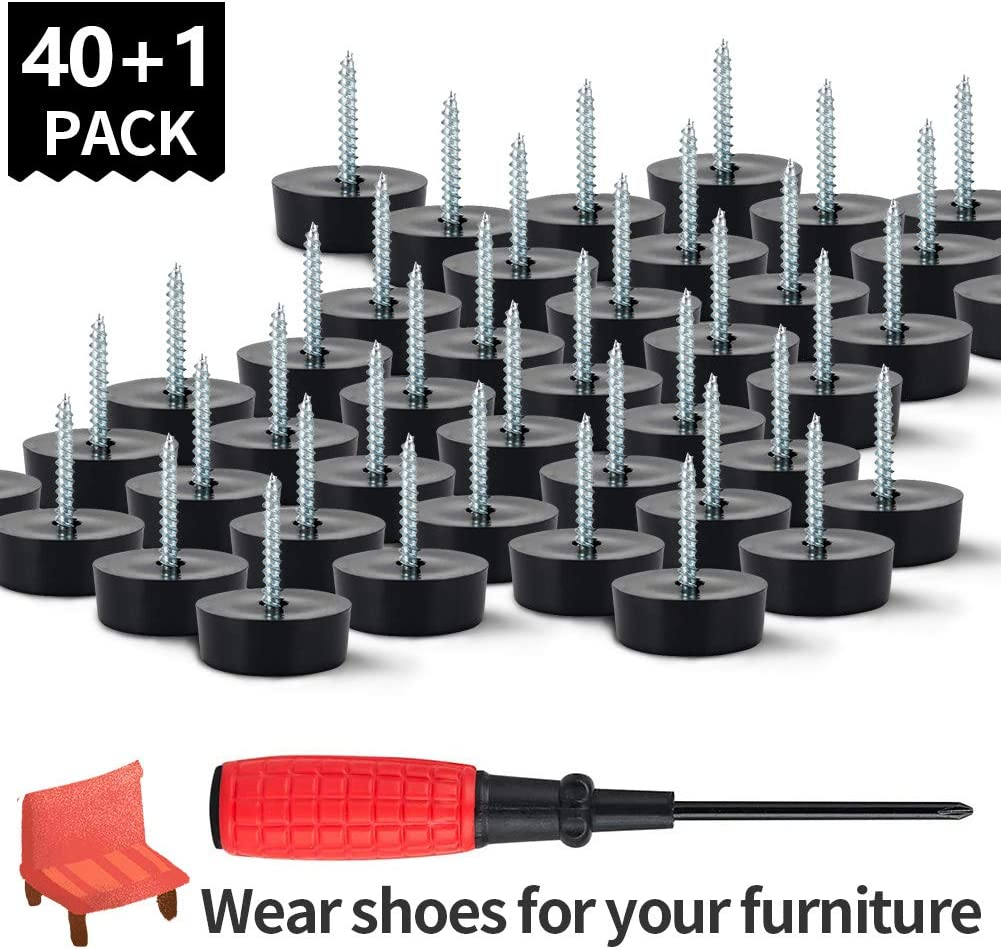 Chair Leg Floor Protectors, 40PCs MOUDERIQ Rubber Furniture Feet Screw On Furniture Sliders for Hardwood Laminate Floors Furniture Legs (Round Black)