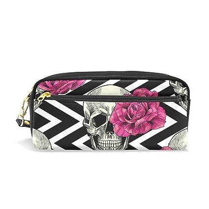 Estuche para lápices, diseño de calavera y rosas, bolsa para ...