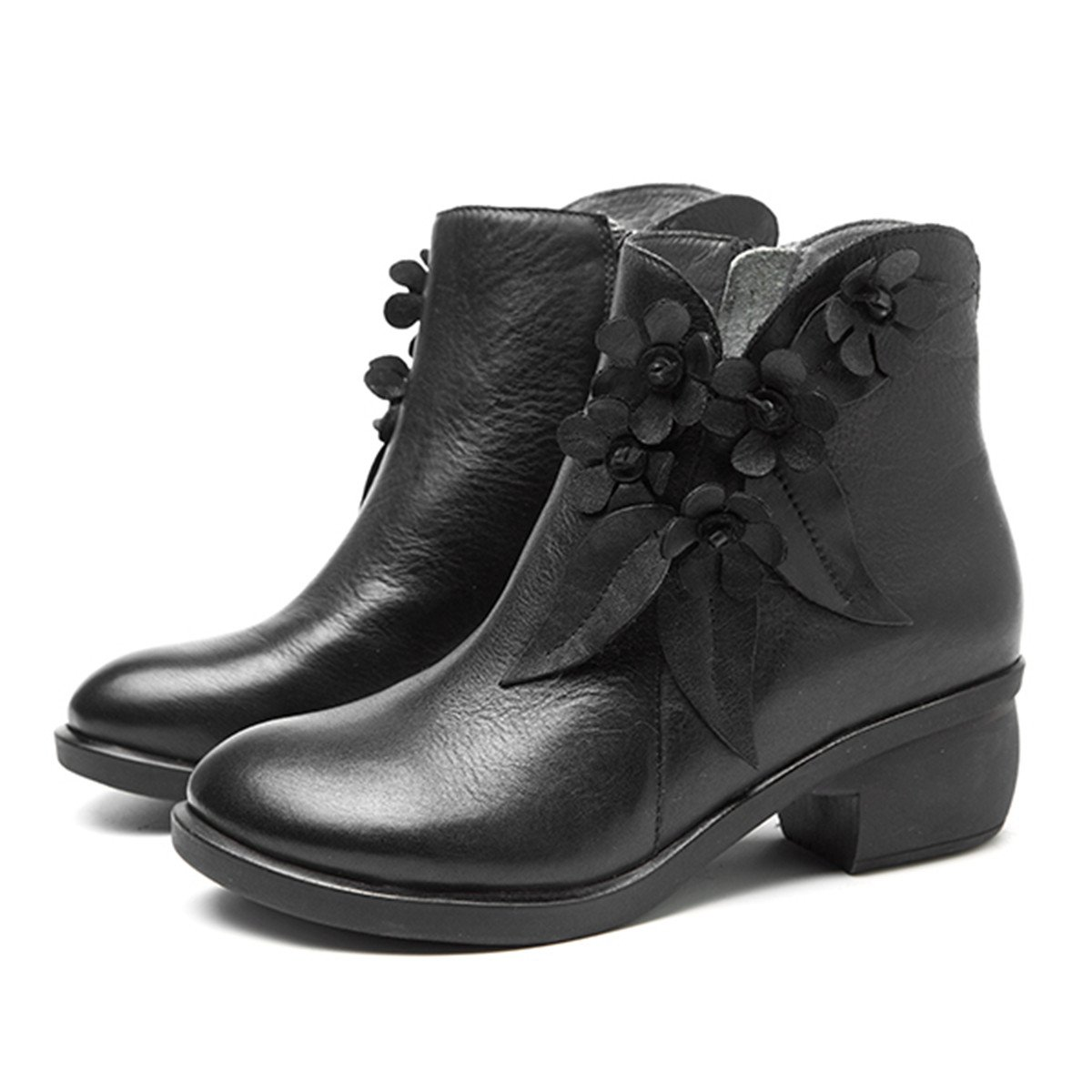 Socofy Leather Ankle Bootie, Women's Vintage Handmade Fashion Leather Boot Rose Floral Shoes Oxford Boots B077G54D6P 8 M US|Black Style 2