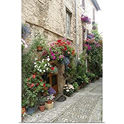 Lynn Seldon Poster Print entitled Italy, Umbria, Spello. Flowers adorn the narrow cobblestone streets
