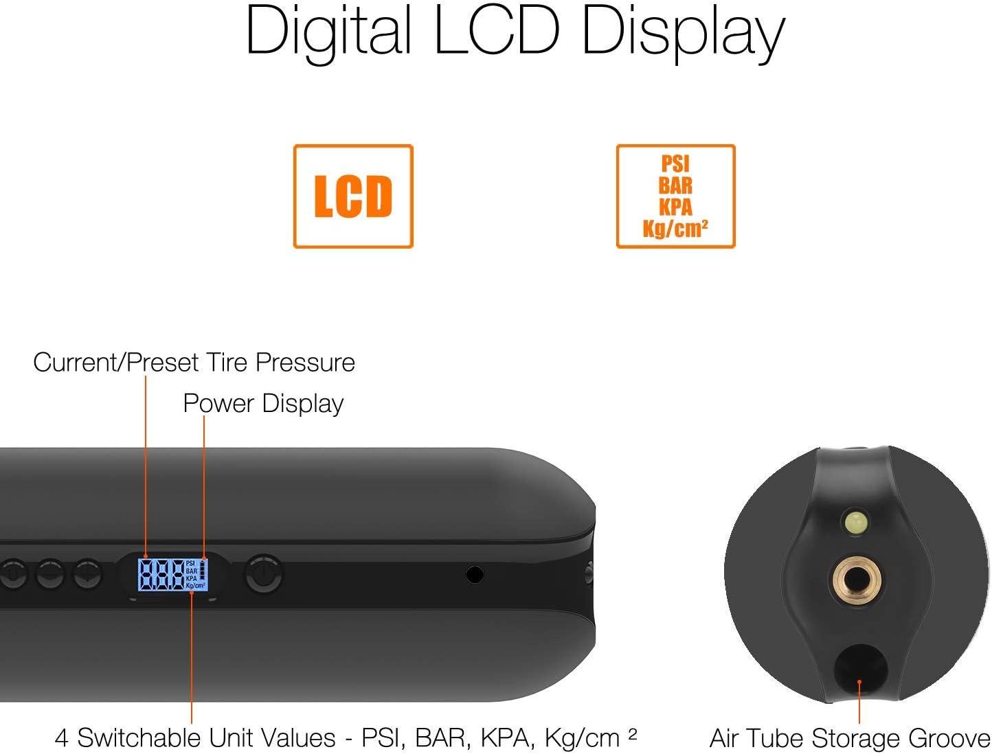 CYCPLUS Portable Compresseur dair Mini Air Gonfleur Hand Held Pompe de Pneu avec /éclairage LED Digital LCD Li-ION 12 V 150psi Banque de Puissance pour Voiture V/élo