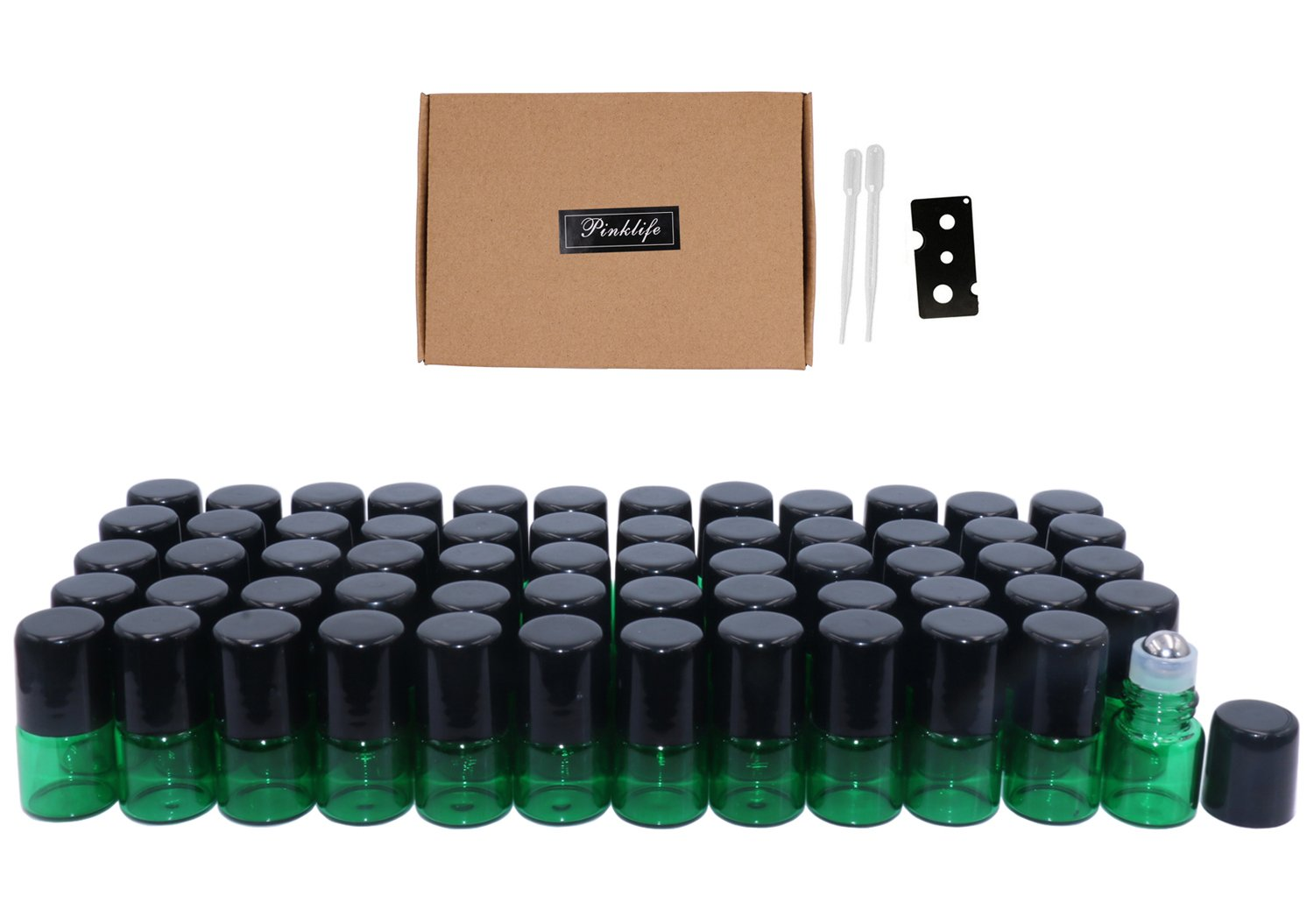 Pinklife 1ml(1/4 Dram) Glass Roller Bottles,60 Pcs Mini Essential Oil Roll on Glass Bottle Empty Aromatherapy Perfume Sample Vials with Metal Roller Ball,Opener and 3ml Dropper Included(Green)