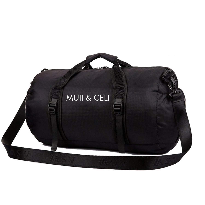 MUII & CELI 40L Bolsa de viaje para equipaje, ligera, plegable, impermeable, para gimnasio, deportes, bolsa de hombro para Vocación, fin de semana, senderismo, camping, color negro, tamaño 40 L Dierya