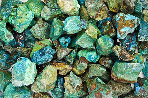 (Fantasia Materials: 3 lbs Chrysocolla Rough AA Grade Stones from Peru - Raw Natural Crystals for Cabbing, Cutting, Lapidary, Tumbling, Polishing, Wire Wrapping, Wicca & Reiki Healing)