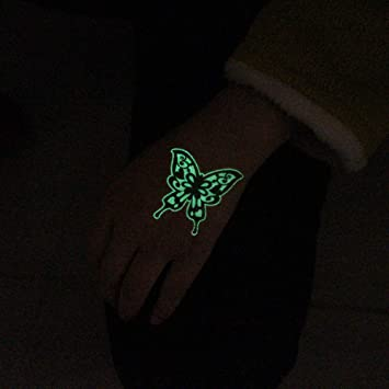 adgkitb 3pcs Mariposa Luminosa alas de Tatuaje Falso Ancla Que ...