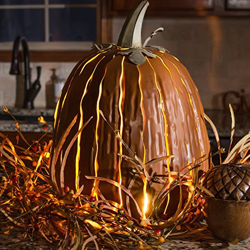 Durable All Weather Steel Tall Orange Pumpkin Luminary Stunning Effect Lantern Lawn Halloween Decor by Desert Steel