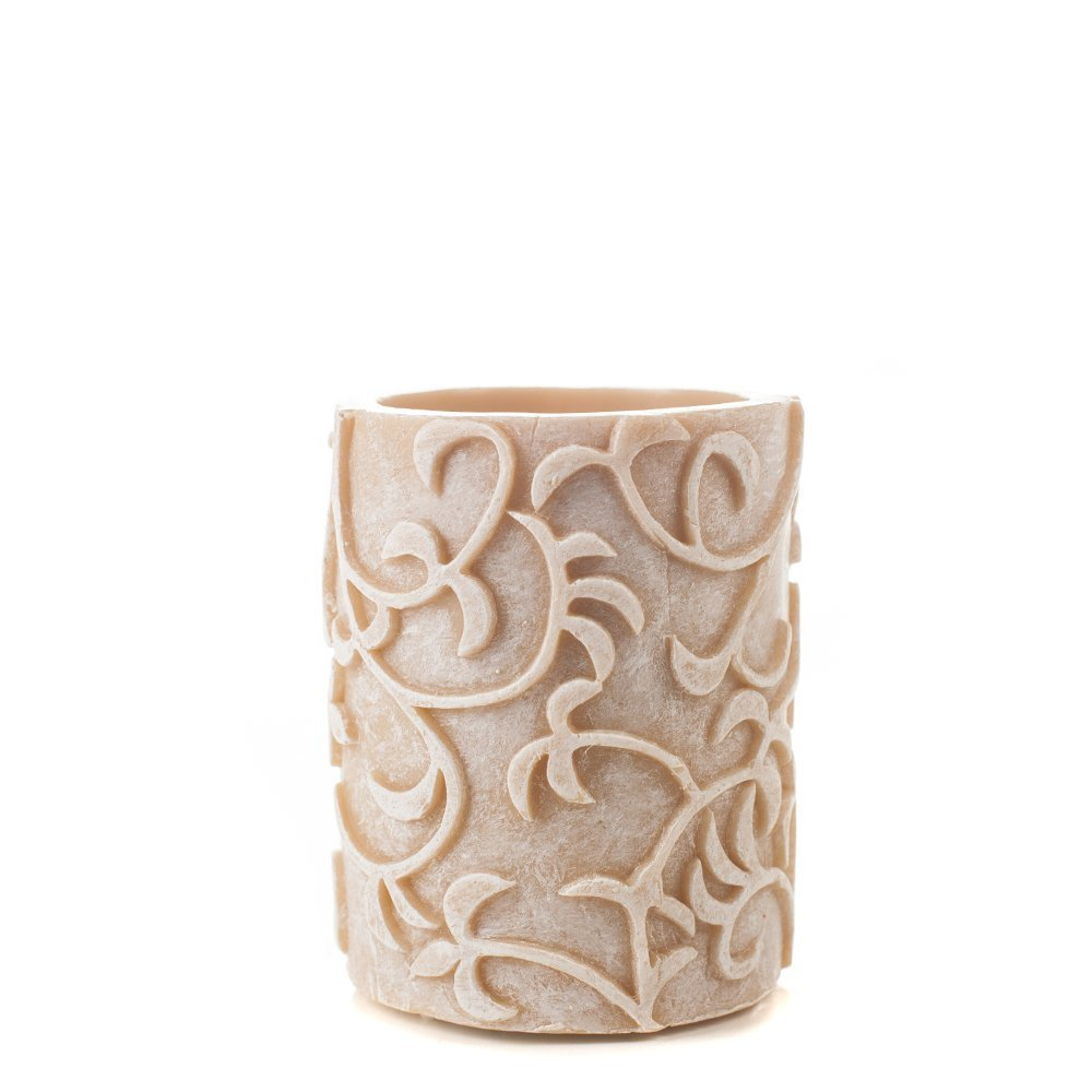 3 x 4 Carved VinesトープFlameless Candle by Amazing Flameless Candle B01CIMGODY 15711