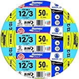 Southwire 63947622 50' 12/3 with ground Romex brand SIMpull residential indoor electrial wire type NM-B, Yellow