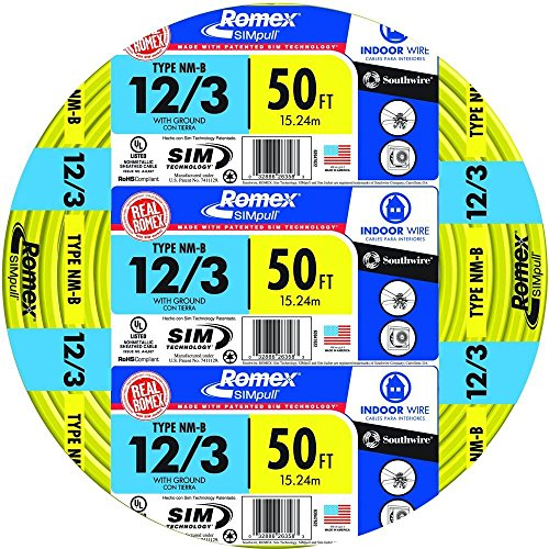 Southwire 63947622 50' 12/3 with ground Romex brand SIMpull residential indoor electrial wire type NM-B, Yellow ()