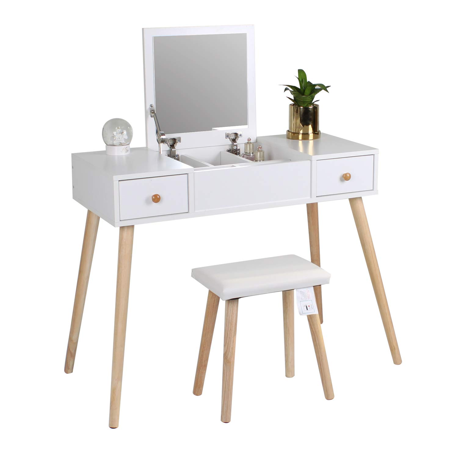 Awe Inspiring Jeffordoutlet Girls White Dressing Table Set Wooden Make Up Table With Flip Top Mirror Pu Leather Stool Bedroom Furniture Ncnpc Chair Design For Home Ncnpcorg