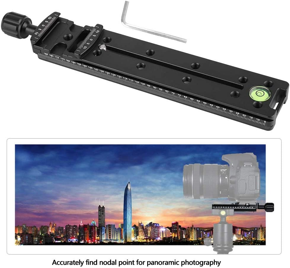 Diyeeni 200mm Nodal Slide Dual Dovetail Rail Plate with Quick Release Clamp,for Camera Panoramic Photography,Close Up Macro Shoot,Plate clamp for SLR Cameras Kirk for ARCA-Swiss,RRS,Markins