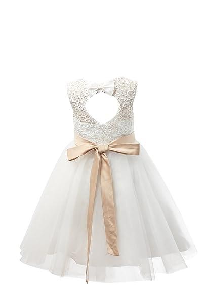 44406f9a5ed1 Miama Ivory Lace Tulle Keyhole Back Wedding Flower Girl Dress Junior  Bridesmaid Dress: Amazon.ca: Clothing & Accessories