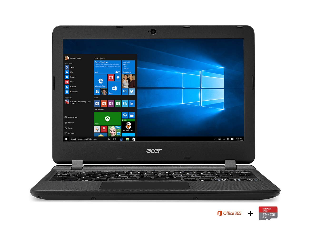 Acer Aspire ES1-132-C7UM PC Portable 11,6' HD Noir (Intel Celeron, 2 Go de RAM, SSD 32 Go, Intel HD Graphics, Windows 10 6 HD Noir (Intel Celeron NX.GGLEF.006