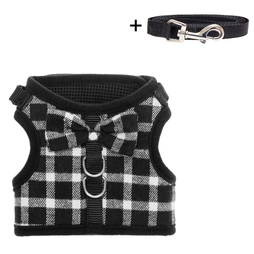 Black & White BINGPET Escape Proof Cat Harness Adjustable Vest and Leash Set