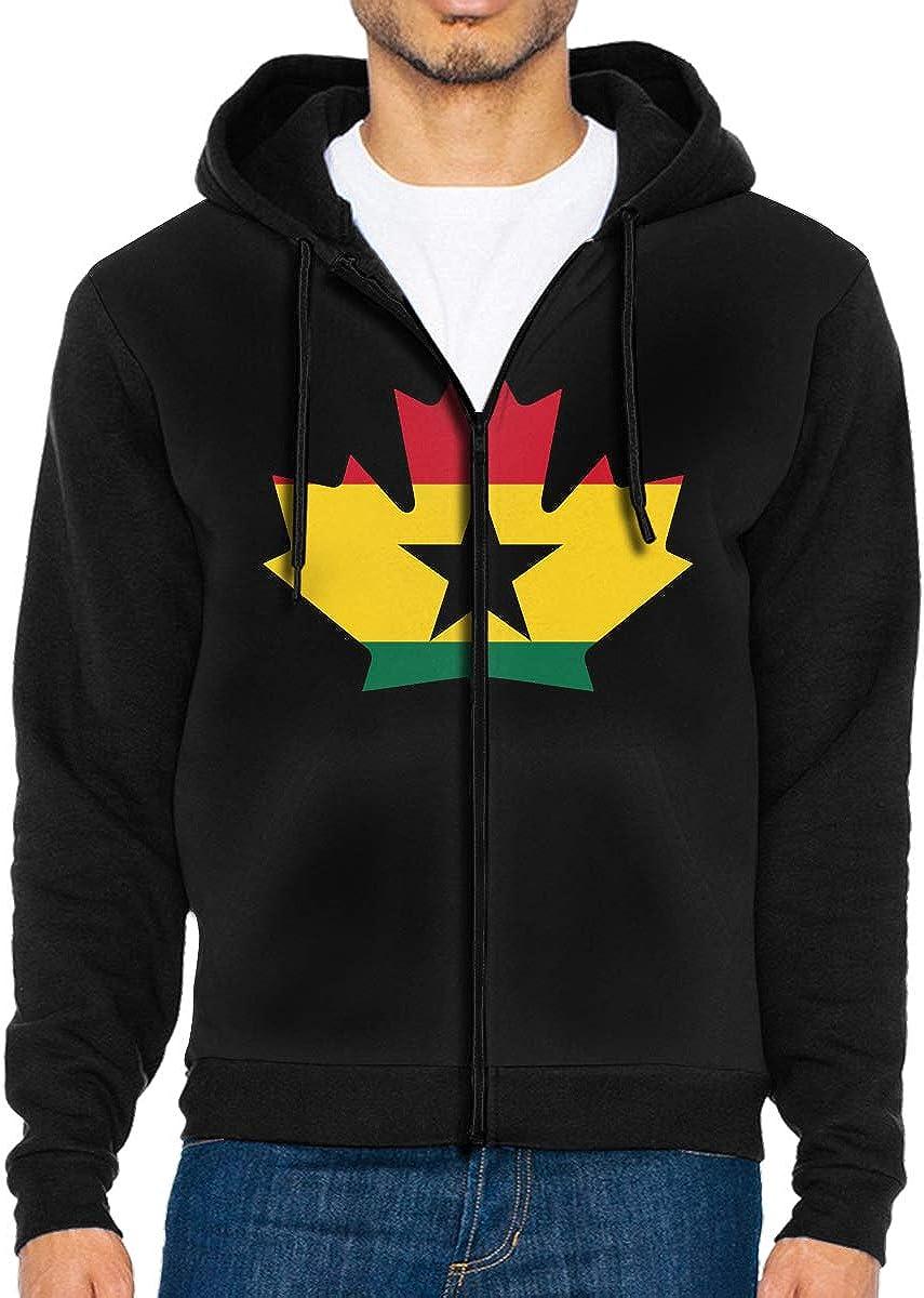 Canadian Ghana Flag Maple Leaf Mens Zip Front Hooded Sweatshirts Outwear