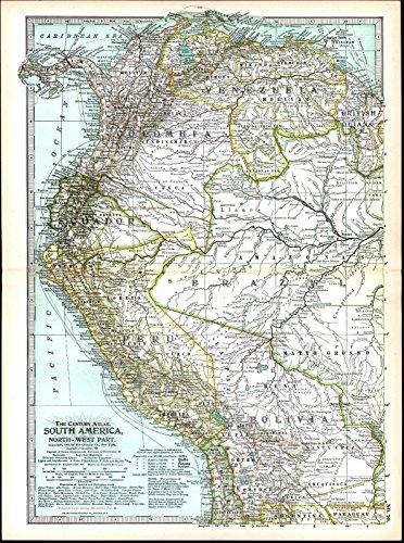 North South America Ecuador Colombia Venezuela 1898 vintage detailed color map Detailed Map North America