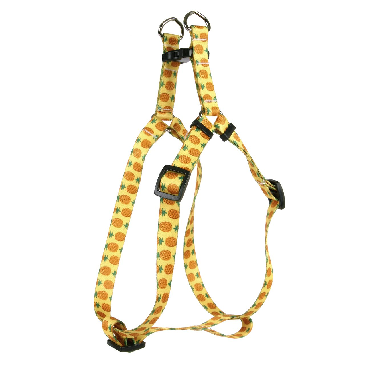 Yellow Dog Design Standard Step-In Harness, Pineapples on Yellow, Small 9'' - 15''