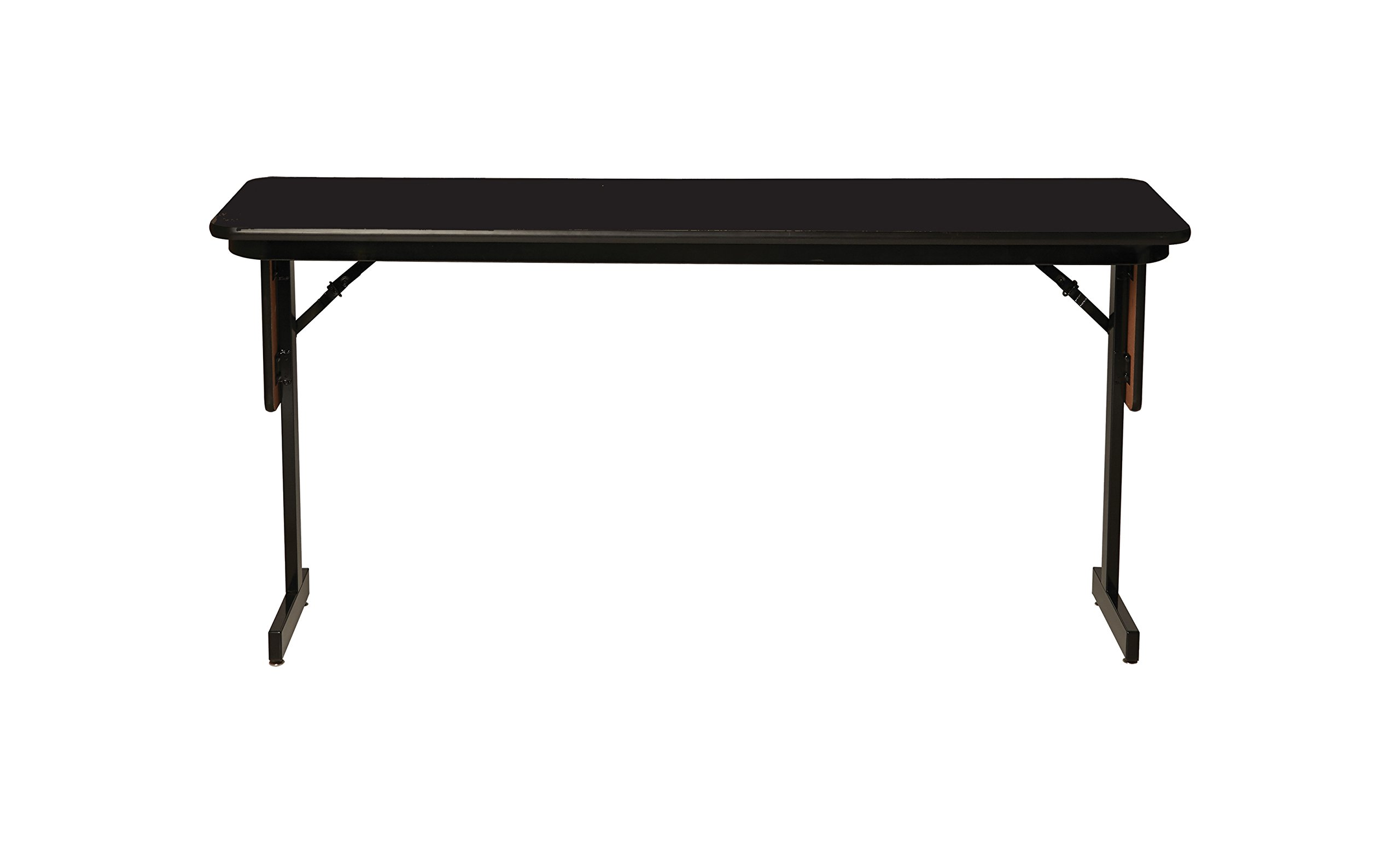 Correll SP1860PX-07 High Pressure Laminate Classroom, Training or Seminar Table with Folding Panel Leg, Rectangular, 18''x60'', Seats 2, Black Granite