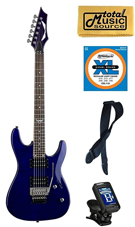 Amazon.com: Dean C350F TBL PACK Electric Guitar, Floyd Rose Trans Blue, Bundle: Musical Instruments
