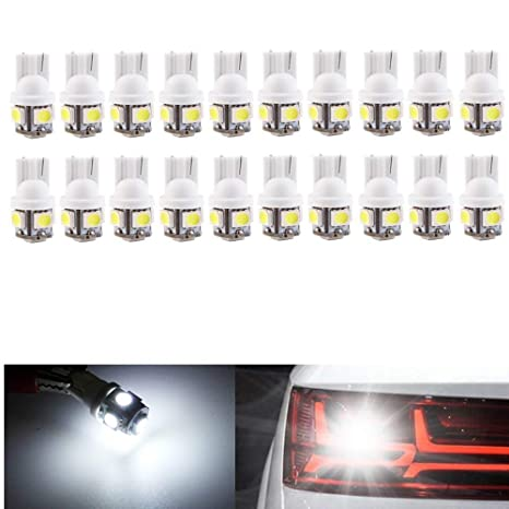 20Pcs Super White T10 Wedge 9-SMD 5050 LED Light bulbs W5W 2825 158 192 168 194
