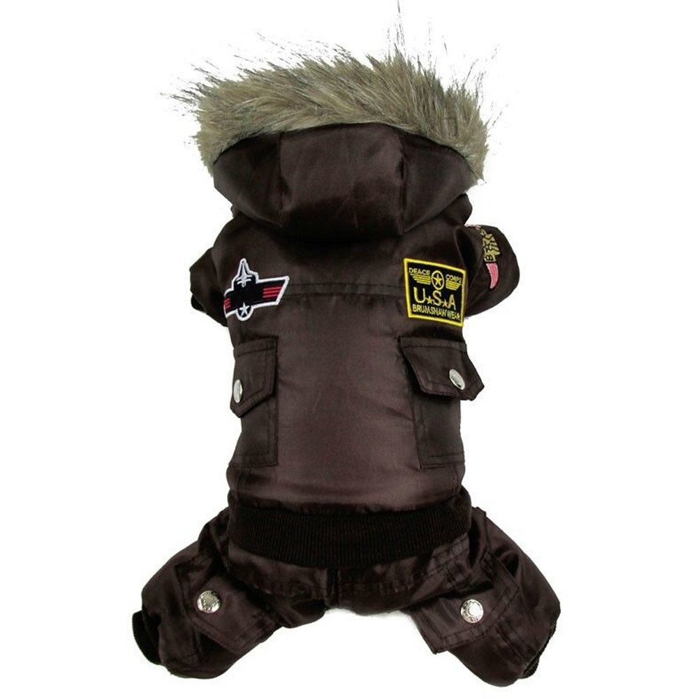 TAONMEISU Dog Clothes Dog Costume Dog Jacket Cute USA Air Force Design Dog Jumpsuits Cloth Hoody Apparel Red