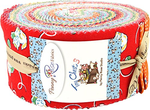 Toy Chest 3 Rolie Polie 40 2.5-inch Strips Jelly Roll Penny Rose Fabrics by Penny Rose Fabrics