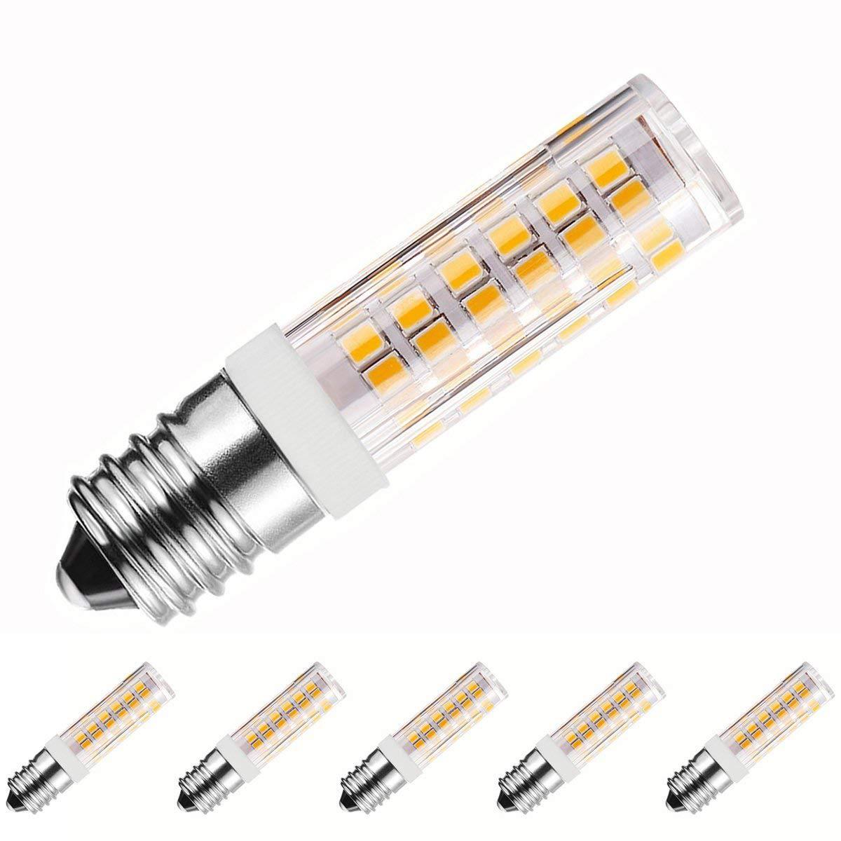 McDen E17 LED Bulb, 6W, JD 60W 70W Halogen Bulb Equivalent, 690Lumens, Mini Candelabra Base, Ceiling Fan Light,5 Pack (6W, E17 Warm White 3000K)