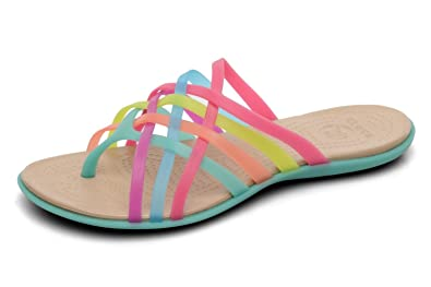 3bf845774083 Crocs Ladies Huarache Flip Flop Sandals Multi Colour Island Green ...
