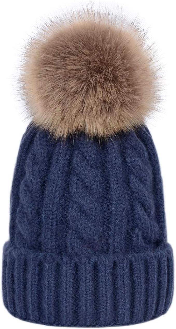 Gorros de Invierno para Mujer Gorros de Punto p/álidos Bobble Girl Fur Pompom Sombreros Real Raccoon Fur Pompon Casual Hat Cap