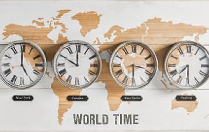 Amazing World Map Time Zones Clock Wall Art: Amazon.co.uk ...