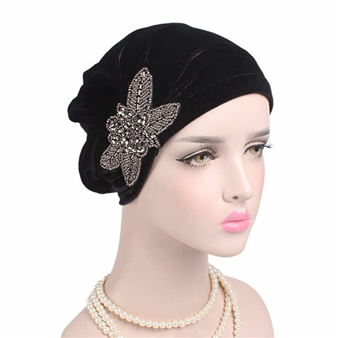 1920s Accessories | Great Gatsby Accessories Guide Qhome Fashion Womens Elegant Soft Velvet Turban Beanie with Beaded Flower Hat Chemo Cap Liner For Cancer Hair Loss Ladies $10.99 AT vintagedancer.com