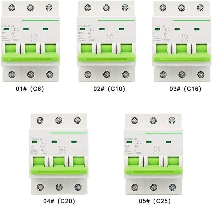 3P+C Automatico 400V AC TOMG3-63 Interruttore Magnetotermico 6A// 10A// 16A// 20A// 25A 10A