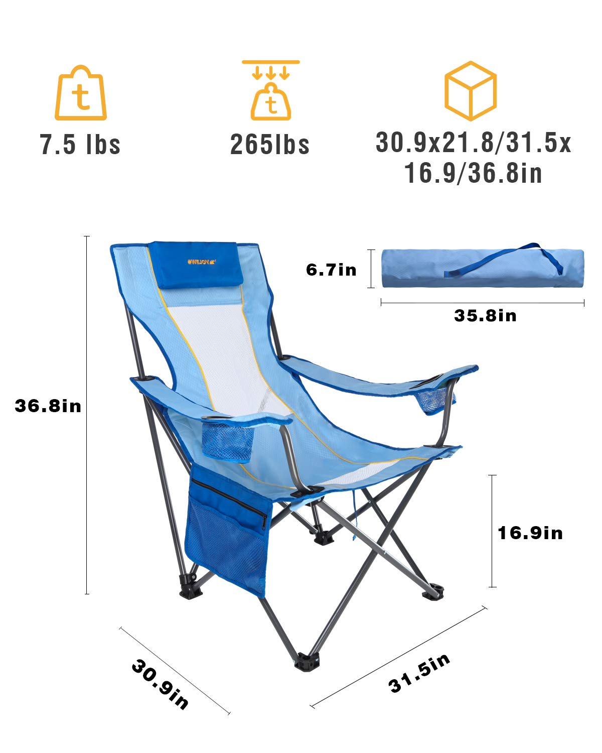Blue #WEJOY Lightweight Compact Portable Folding Reclining Camping Beach Chair with Pillow Cup Holder Pocket Mesh Back for Outdoor Garden Patio Lawn Hiking Backpacking