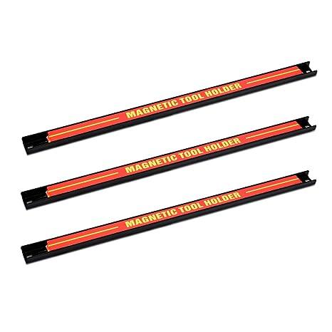 Navaris 3x tiras magnéticas para herramientas - Soporte magnético de cuchillos 45.5x2.3CM - Set bandas imantadas para cocina garaje jardín y taller
