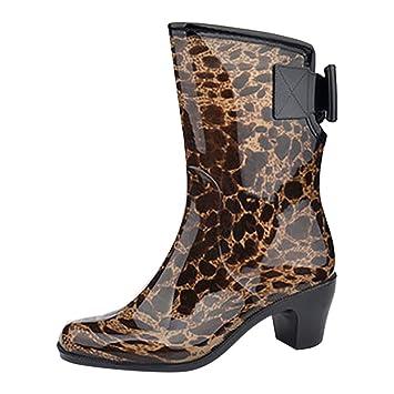 Damen Leopard Bowknot Drucken Halbschaft Gummistiefel nw0kXOP8