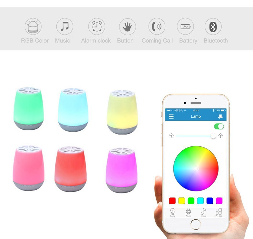 LED Bluetooth Speaker,8Sanlione Smart App Wireless Bluetooth Speaker,Dimmable Control Night Light,Smartphones Touch Control LED Lamp With Wireless Speakers for Children bedroom, Party, Outdoor Camping by 8Sanlione (Image #8)