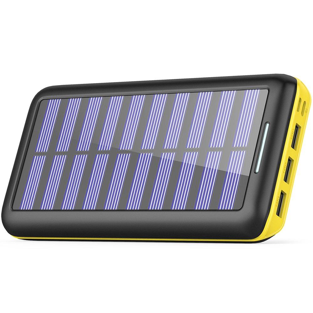 Cargadores Solare Power Bank, BERNET 24000mAh Batería Externa con 3 Puertos de Salida USB y Entrada Doble(Lighting y Micro) con...