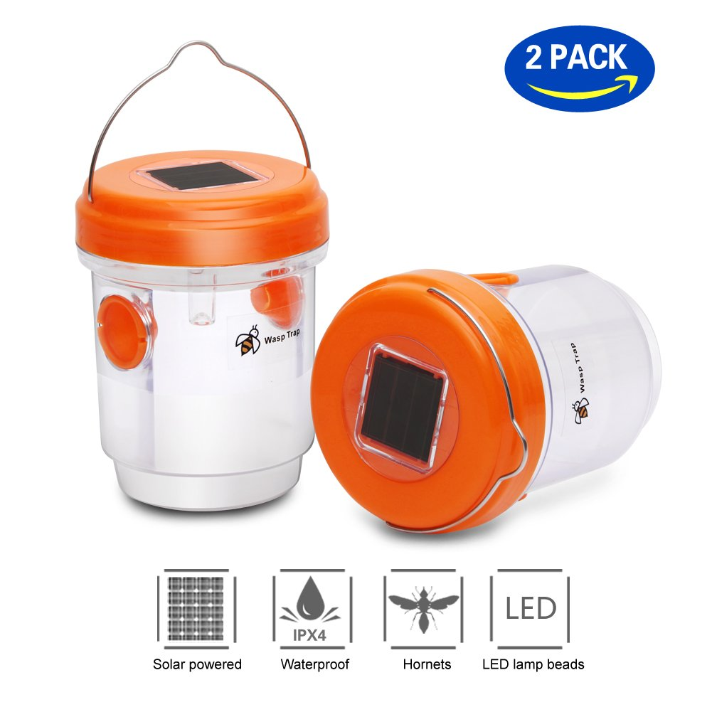T Box Upgraded Version Solar Powered Wasp Trap with UV LED Light,Hornet Trap,Yellow Jacket Traps & Wasp Traps for Outdoors,Wasp Killer,Effective and Reusable