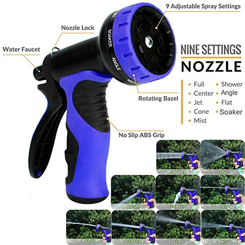 MTNZXZ Garden Hose, Newest 75 FT Expandable Heavy Double Latex Flexible Hose - 9-Pattern High Pressure Water Spray Nozzle. Suitable for Wash Cars, Clean Walls, Watering Lawns and Garden Plants, etc.
