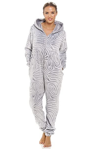 Camille - Pijama de una pieza para mujer - Forro polar supersuave - Estampado de cebra