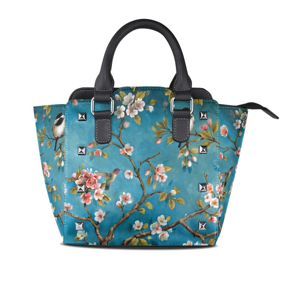 Design1 Bird On The Branch Top Handle Satchel Handbags Leather Tote Adjustable Shoulder Rivet Bag for Women