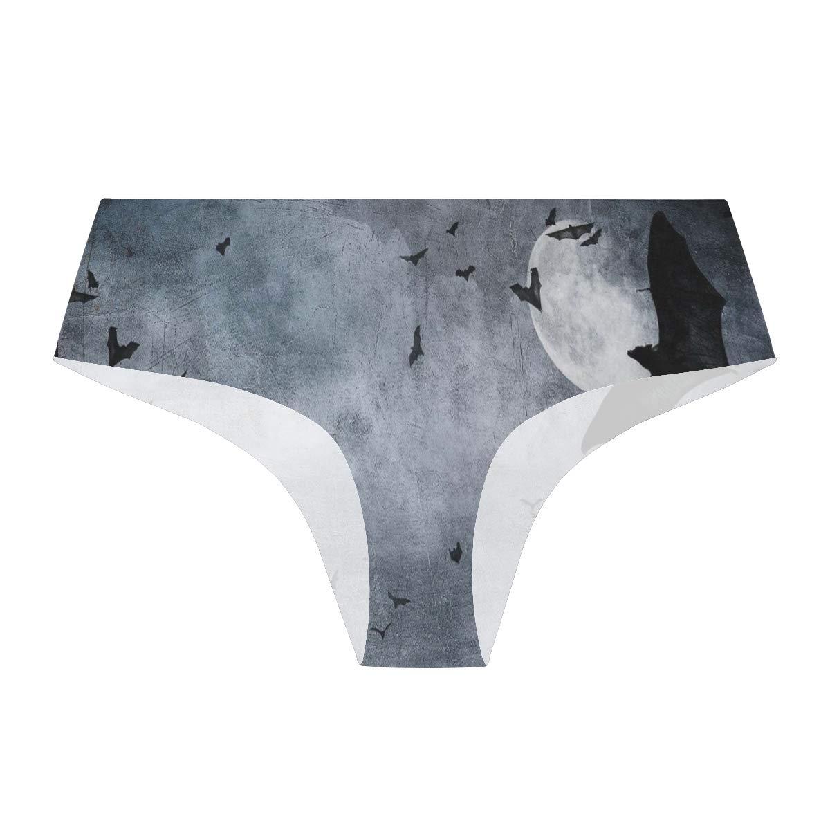 HzuGchi Spooky Bats Halloween Womens Bikini Panties Invisibles Hipster Panty Seamless Underwear