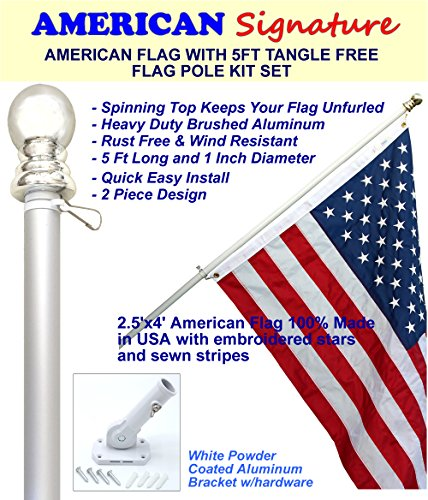 Flag Pole Kit - Includes 2.5x4 Ft American Flag Made in USA, 5 Foot Tangle Free Flag Pole, and Flagpole Bracket Holder Kit (Silver) - Steel House Kits