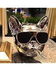 XuBa Mini HiFi Bulldog Shape Wirless Bluetooth Super Bass Speaker Stereo Sound Box Support FM MP3 Player Small Silver Plated