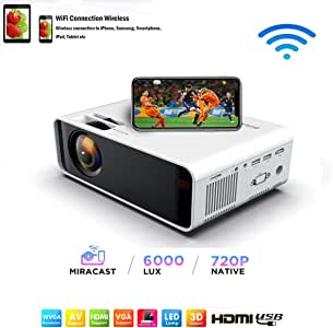 SOTEFE® Mini LED Projector Portable 6000 Lumens-WiFi Video Projectors 1080P Full HD For iPhone Samsung Smartphone Wireless Projector HDMI Office Home Theater Movie Connection HDMI/USB/VGA/AV/TF/SD Card (White)