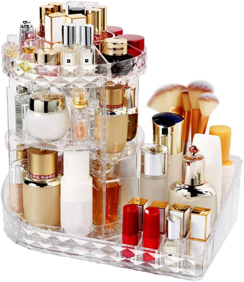Clear, 15.4x10.6 Shipped from The US Freeby-US 360/° Rotating Multi-Level Makeup Organizer Adjustable Carousel with Tray Acrylic Clear Storage Box
