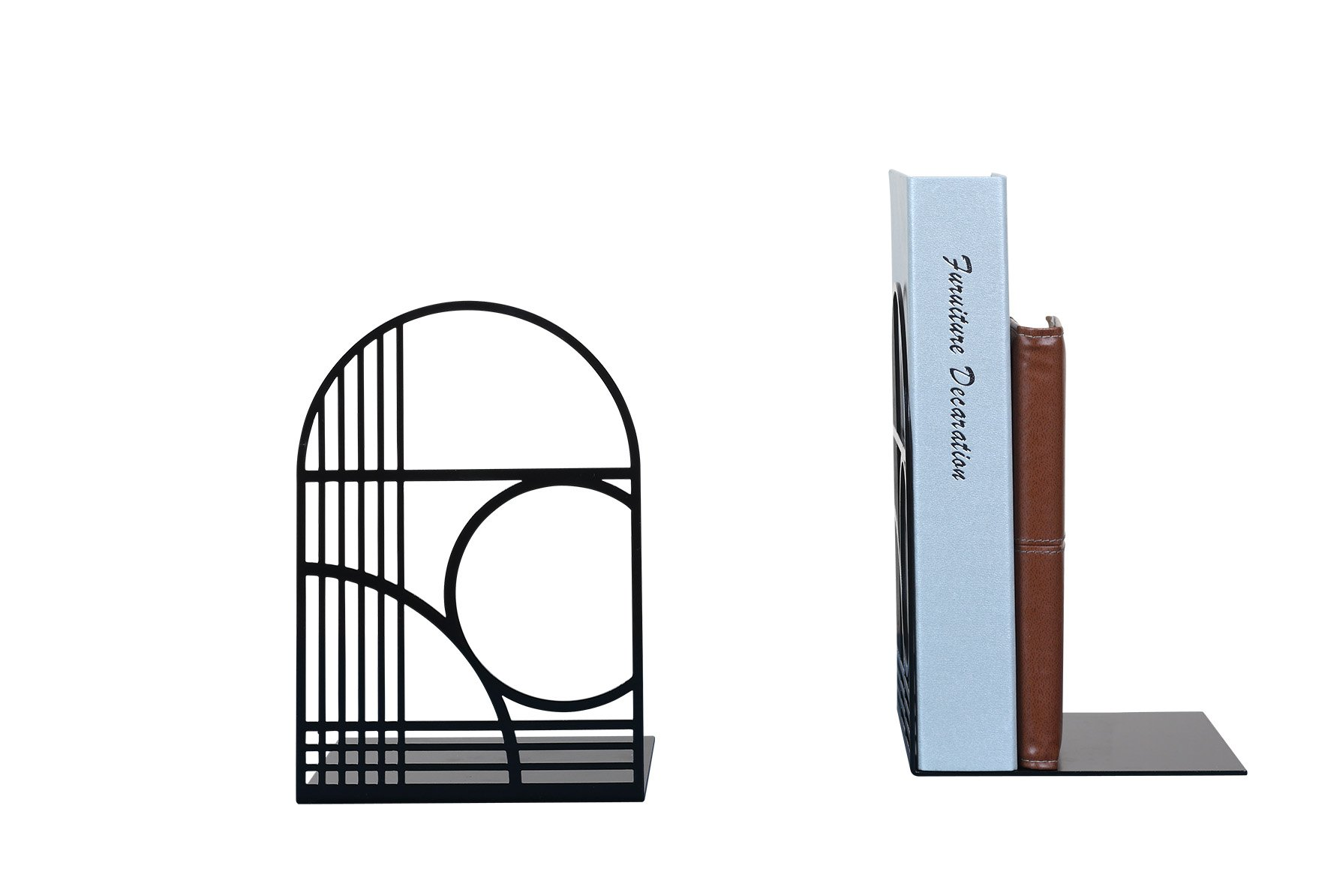 Unique Office Bookends - Modern Brand Design Metal Book Ends for Large and Tall books (Black)