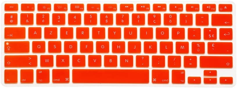 HQF Notebook SiliconeFrench Belgian Keyboard Skin Protection Laptop Layout for All Apple MacBook Air Pro 13 15 US Version French//English Keyboard Cover Orange