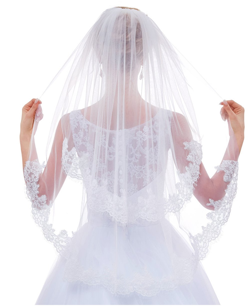 Greenia 2 Tier Lace Veil with Comb Short GN-V11